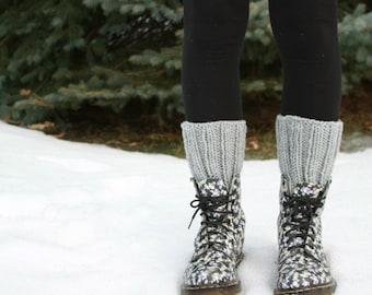 Rib knit boot cuffs