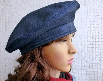 Blue Denim hat Denim beret Spring  beret Beret Hat Beret hat Blue beret Women beret Women hat Hat for women Ladies hat Handmade hat Handmade