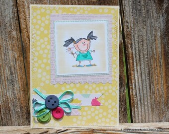 Pigtail girl handmade card