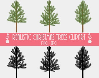 Commercial License Realistic Christmas Cliparts, Tree Clipart, Graphic PNG JPG, Christmas Trees Clipart, Pine Tree