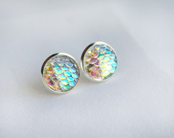 Opal Mermaid Earrings - Mermaid Jewelry - Scale Earrings - Boho Chic - Handmade - Mermaid Vibes - Dragon Jewelry