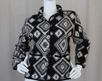 Vintage Southwestern Tapestry Cotton Jacket |  Tribal Black & Ivory Coat | Small