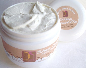 Moroccan Sandalwood Organic Shea Souffle'  for Men 4oz. ...whipped body butter- Bath and Beauty Products