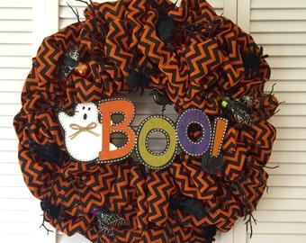 Ready to Ship! Halloween Wreath, Halloween Decor, Large Wreath, Burlap Wreath, Chevron Wreath, Fall Wreath