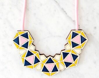 Minimalist Necklace / Geometric Bib - Pink / Navy / Yellow / Statement Necklace / Contemporary Necklace