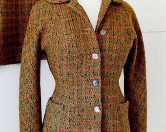 ORIGINAL 1940'S jacket skirt suit tweed orange fleck ww2 land girl size 8/10