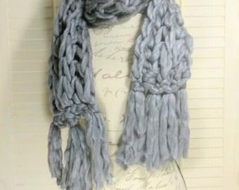 Gray Chunky Knit Scarf, winter scarf