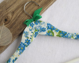 Decorated Wooden clothes hanger - White & Blue- Forget me not flowers - Spring