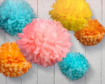 Tissue Paper Pom Poms - Set of 7 - Birthday's Decor//Parties Decor//Nursery//Receptions