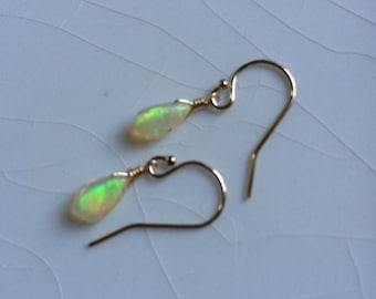 Free Shipping - Tiny, Smooth Welo/Fire Opal Pear/Briolette Drop Gold-Filled Dangle Earrings