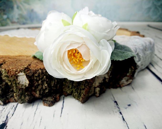 Bobby pin wedding bridal hair piece clip greenery silk flower peonies ranunculus white dusty miller simple flower clip flocked leafs elegant