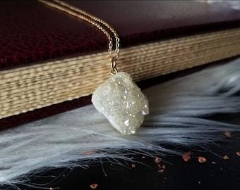 Golden Aura Necklace ~ Aura Quartz Pendant ~ Aura Crystal ~ Aura Druzy Quartz ~ Druzy Quartz Necklace