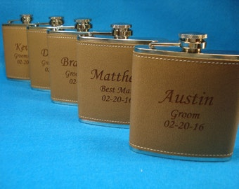 GROOMSMEN GIFTS - 5 Leather Flasks Personalized for Groomsmen, Best Man, Father of the Groom, Father of the Bride