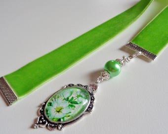 Apple Green Velvet Ribbon Bookmark w/ Flower Cabochon