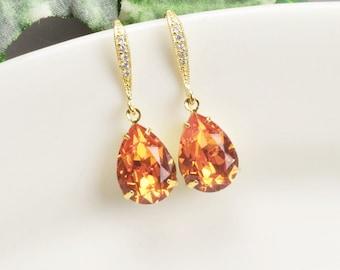 Orange Earrings Gold Swarovski Earrings Teardrop Bridesmaid Earrings Crystal Bridal Earrings Bridesmaid Jewelry