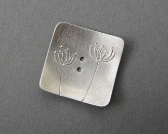 Dandelions Button 1 inch square silvertone metal artisan handmade queen annes lace