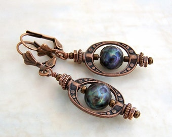 Faceted Peacock Pearl Steampunk Earrings - Antique Copper Gears & Saturn Rings accent these Black Pearls Earrings