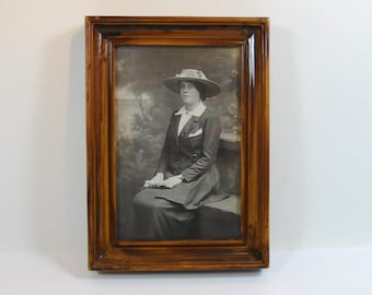 Old Photograph of an Edwardian Lady In Hat, Framed Photograph of Edwardian Lady in Hat, Edwardian Fashion Photograph, Vintage Photograph
