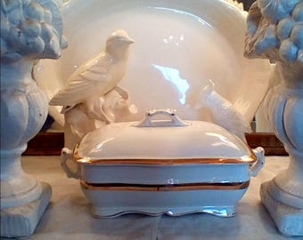 Antique Ironstone Covered Tureen/Compote Serving Dish with Gold Banding