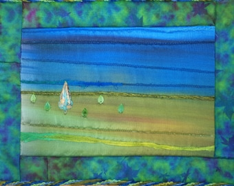 Meadow Landscape Quilted Wall Hanging Fiber Art