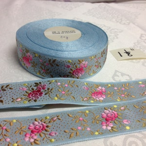Vintage Jacquard Floral Ribbon Collection. Sold by the yard. Acetate, Made in France, 1 1/8 Wide.