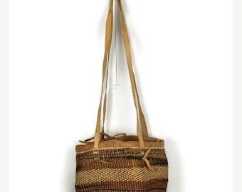 Vintage 70's leather sisal jute straw bag