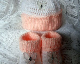 SALE - Crochet Baby Hat and Booties Set - Knit Peach and White Pom-Pom Hat and Boots with Butterflies - Infant Gift Clothes