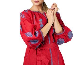 ZALXNDRA Tradition MILLY Mini Dress in Scarlet Red