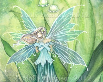 Fairy Print - Lily of the Valley Flower Fairy 9 x 12 Art by Molly Harrison - Green, Garden, Flower Fairies, Faery, Illustration, Watercolor