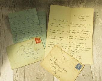 2 Vintage Handwritten Personal Letters ~ 1940s/1950s