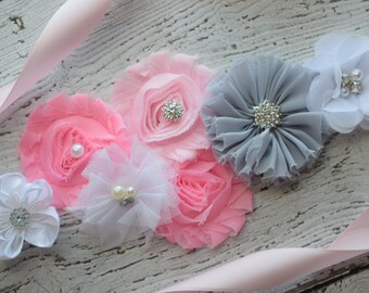 Flower Sash, pink grey white Sash , flower Belt, maternity sash