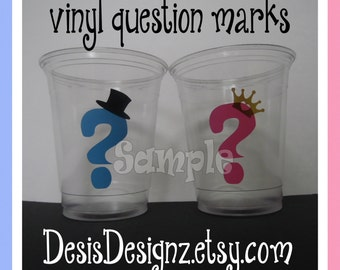 24 Gender reveal Question Marks vinyl decals Baby shower Birthday party decorations girl boy sprinkle party vinyl cup stickers party cups