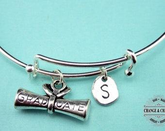 Diploma Bangle, Graduation Bracelet, Diploma Bracelet, Graduation Gift,Personalized Bangle,Initial Charm,Silver Plated,Charm Bracelet,CSY020