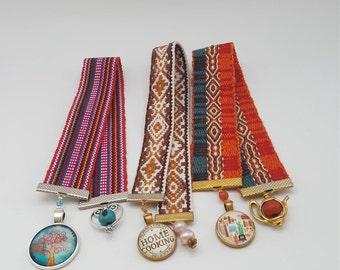 Set of Three Jacquard Woven Ribbon Bookmarks