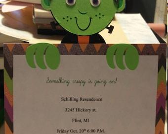 Frankenstein halloween party invitations! Set of 10