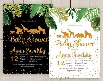 Safari Baby Shower Invitation, Baby Boy Safari Jungle invitation, Safari Invite, Jungle Theme Baby Shower Invitation, gold safari invite