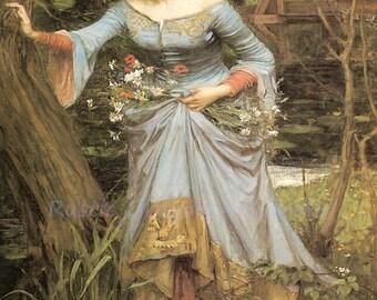 "John William Waterhouse ""Ophelia"" Flowers Hamlet William Shakespeare 1910 Reproduction Digital Print"