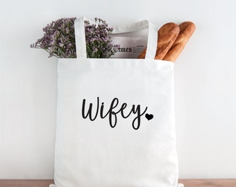 Wifey Tote,Mrs, wife tote, Bride Tote Bag, Bride, Wedding, Wedding tote, Bride gift, mrs tote, heart