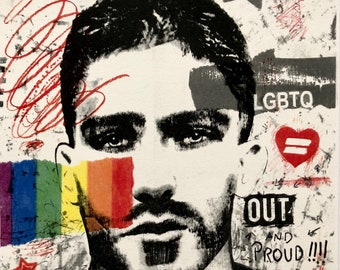 Original GAY PRIDE art mixed media gay homoerotic art male portrait