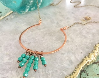 Hammered Metal Copper Crescent Moon Necklace with Faceted Turquoise Czech Glass Beads / Horseshoe  / Good Luck / Silver Chain / Nina Carina