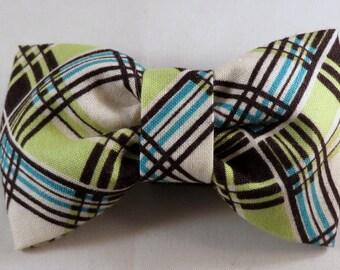 Dog Flower, Dog Bow Tie, Cat Flower, Cat Bow Tie - Corner Plaid