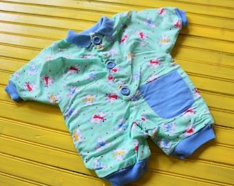 Vintage BABY BOY Teal & Blue Romper Size 6 months by Hopscotch, vintage baby boy outfit, baby boy romper, vintage baby romper