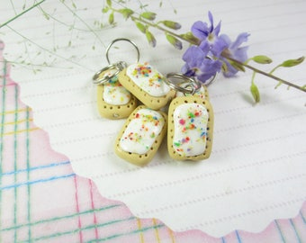 Pop tart stitch markers, pop tart charms knit knitting food charms, food stitch markers polymer clay pop tarts breakfast miniature food cute