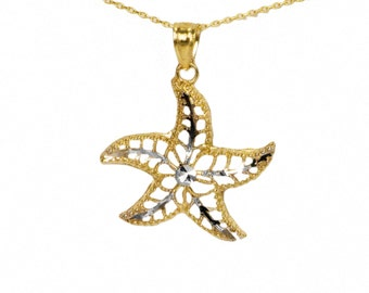 14k Yellow Gold Starfish Necklace