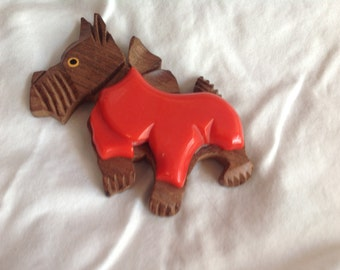 Vintage red Bakelite and wood Scottie brooch