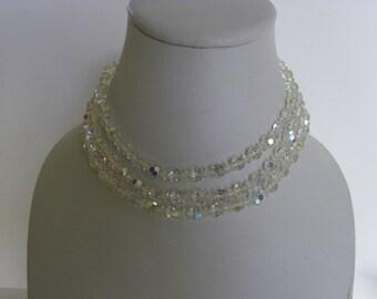Vintage aurora borealis crystal multistrand necklace
