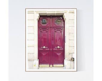 Door Photography Print, Paris Door Picture, Vertical Print, Purple Plum, Wall Decor, Bedroom Wall Art, Hallway Art, French Home Decor