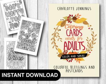30 Good Vibes Coloring Pages Coloring Cards - Colorful Blessings Postcards Greeting Cards to Share Instant Download Coloring Book for Adults
