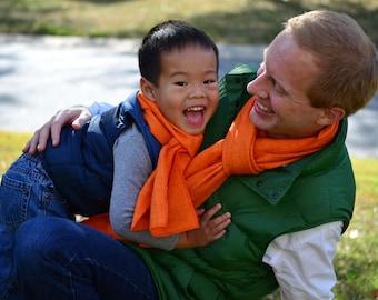Toddler Flannel Scarf in Orange Herringbone- boys girls blaze orange hokies virginia tech cotton scarves washable