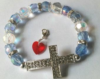 Religious Christian Jewelry Cross Heart Bracelet Religious Jewelry Christian Bling  BR5